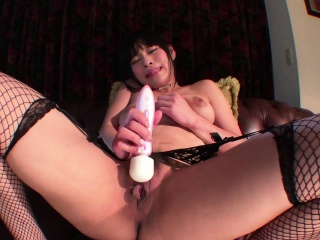 Asian nympho toying her hairy pussy