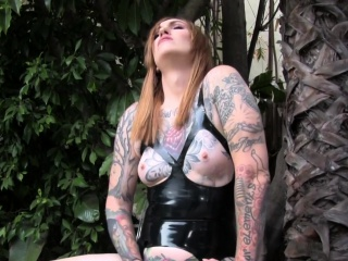 tattooed tgirl tugging a hard cock solo