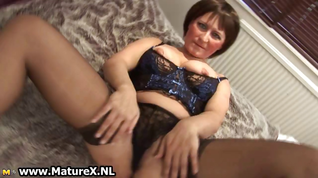 Porn Tube of Mature Mom In Sexy Black Stockings Part2