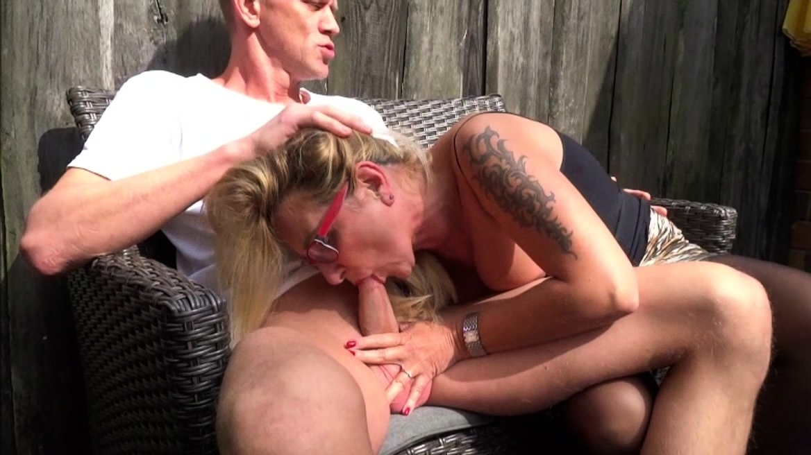 Neighbor With Giant Cock Fucks Horny Milf In The Garden