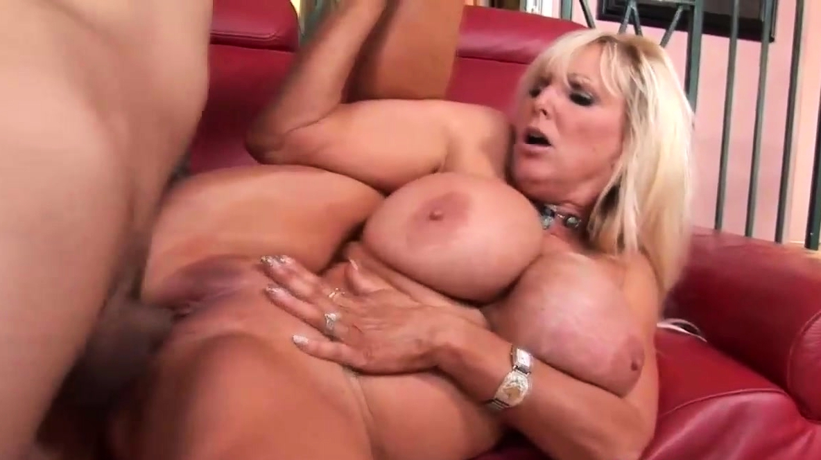 Iamporn - Huge Boobed Blonde Milf Fucks On The Couch