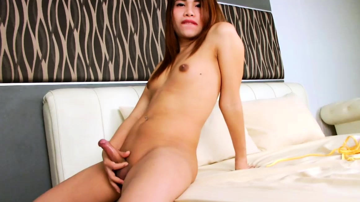 Shemale Cutie Masturbates His Hard Cock Until He Cums