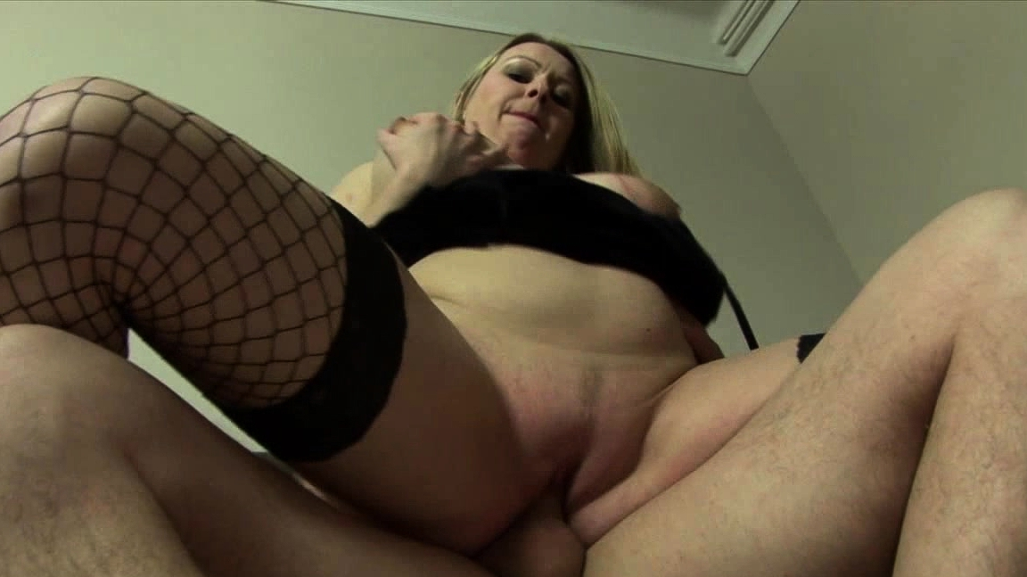Busty Blonde In Fishnet Stockings Loves Being Banged