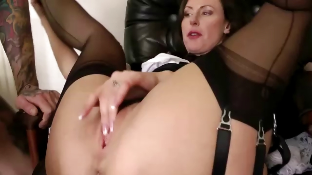 Porno Video of British Mature In Stockings Sucks And Gets Fucked
