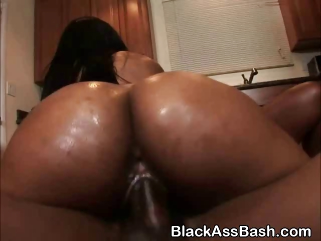 Ebony Riding Anal Dildo