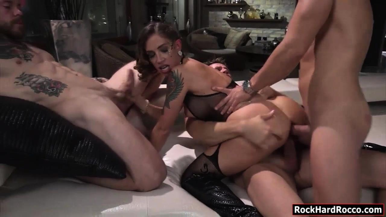 Huge Tits Tattooed Woman Malena Double Anal Gangbang