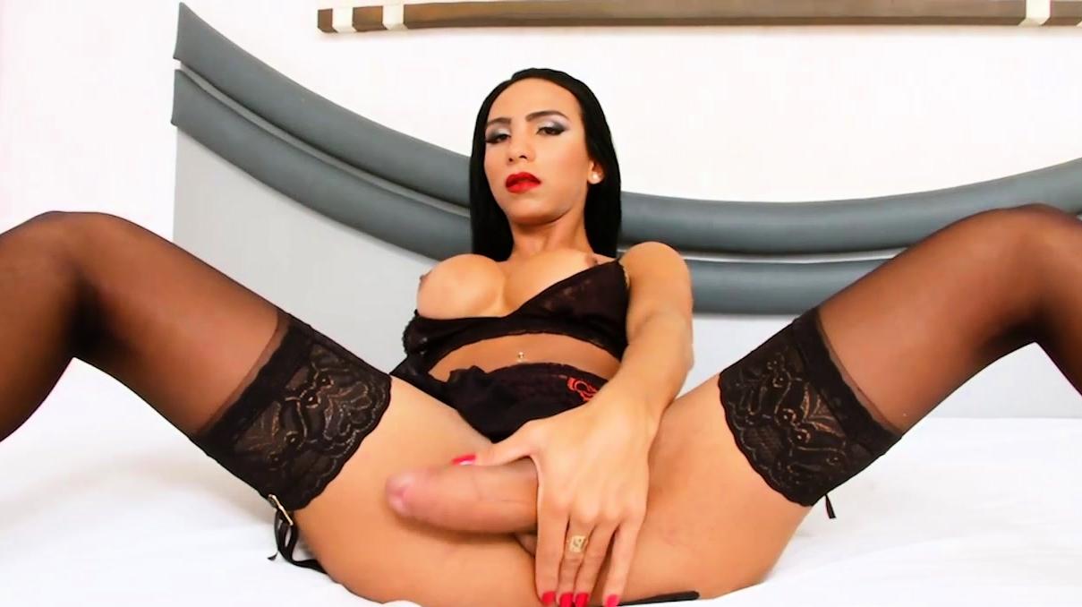 Big Tits Latina Tranny Masturbates His Dick Until It Cums