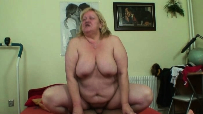 Granny With Huge Tits Rides Her Young Cock
