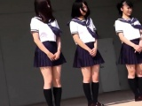cute japanese students dance