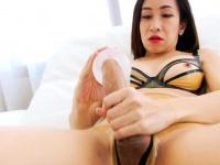 Libidinous ladyboy fucks cock with fleshlight then masturbates | Porn-Update.com