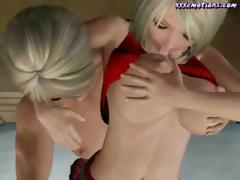 Exuberant 3D-animated nymphs roughly rowdy V-J-Js conclude some strap-on lez