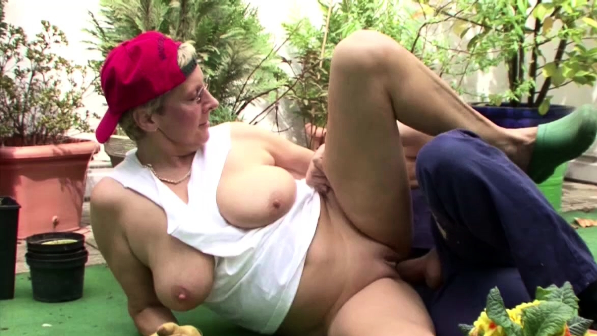 Swiss Grandmother Seduces Young German To Fuck In The Garden