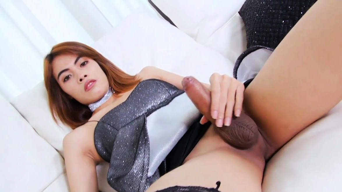 Pretty Ladyboy Shows Ass And Masturbates Her Hard Cock