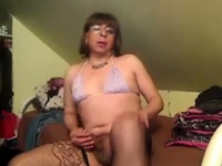 Solo tranny amateur in lingerie tugs her thick dick   Porn-Update.com