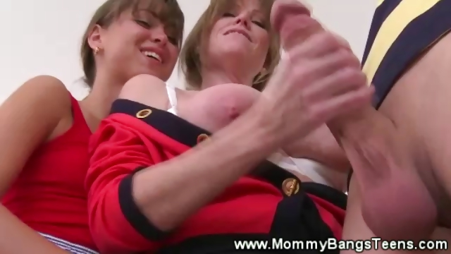 Porn Tube of Mom Sucks Boys Balls And Teen Sucks Cock