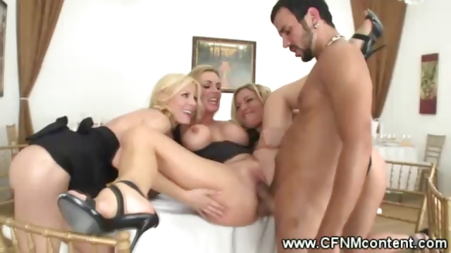 Porno Video of Clothed Milfs Start A Reversed Gangbang