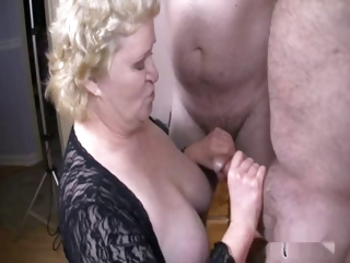 Porno Video of Nice Granny With Two Men