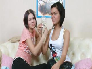 Young lesbian teenagers playing in HD