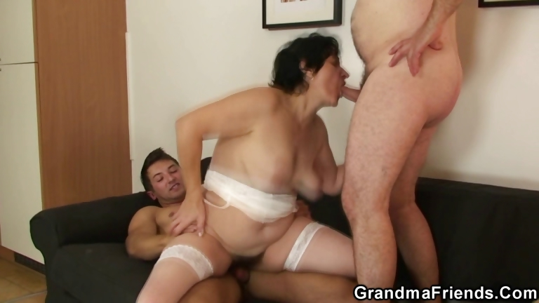 Porno Video of Granny Gets Her Hairy Hole Filled With Two Cocks