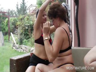 3some with mature licking hot boobs