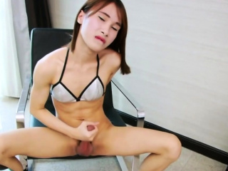 Hung Ladyboy Pooh Enjoys Jerking Off