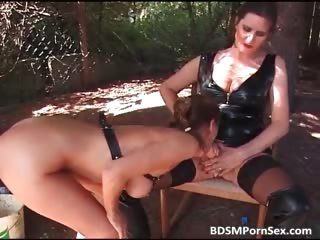 Outdoor BDSM action where guy and girl part5