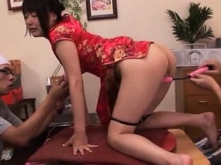 Staggering japanese Tsubomi is sucking her vibrator