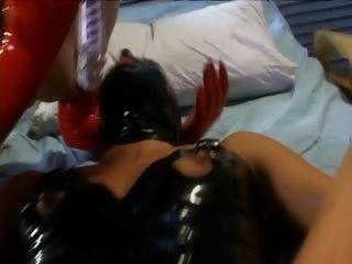 Slave gets twat dildoed in lesbo BDSM scene