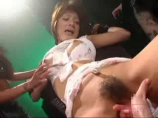 Porn Tube of Asian Girl Tied To Chair Fingered Stimulated With Vibrator By 3 Girls In The Dungeon