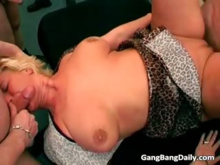 Redhead and blonde mature sluts get gang part6