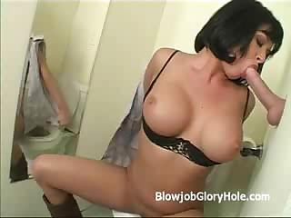Tory Lane Gives Big Cock Sloppy Blowjob Through Gloryhole