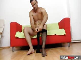 Gay messy cum explosion on nylon pantyhose