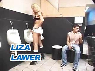 Porn Tube of Shemale Threesome In A Toilet