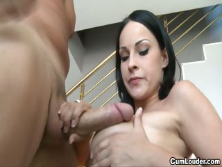 sexy abbie cat comes out and plays with her big tits