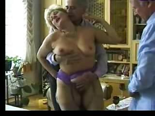 Porno Video of Granny Entertains Two Old Guys