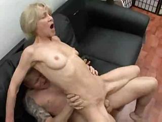 Blonde Granny In Threesome