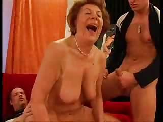 Porno Video of Horny Gilf Double Teamed