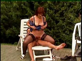 Sex Movie of Granny In Glasses And Stockings Outdoor Shave And Fuck