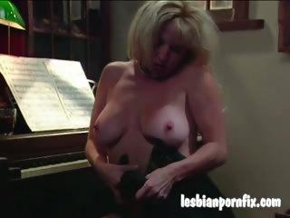 two mature women naked and masturbating