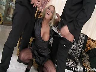 Sex Movie of Double Penetrated Blonde Slut In Stockings