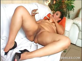 Naked BBW bitch teases her assets with vibrator