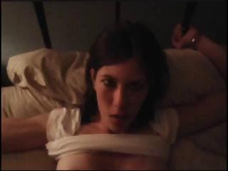 Porno Video of Skinny Brunette Amateur With A Shaved Pussy Gets Fucked Hard While Handcuffed To The Bed