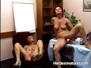 Mature sluts go lesbian with their toys