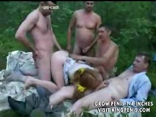 Porn Tube of Wonderful Orgy With Shy Red-haired Girl In The Middle Of A Forest