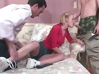 Porn Tube of Dad And Son Come Home And Lay Down With Cute Teen Babbysitter