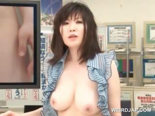 Asian TV host fucked hardcore in threesome