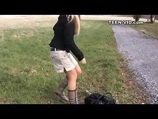 blond teen upskirt without panties