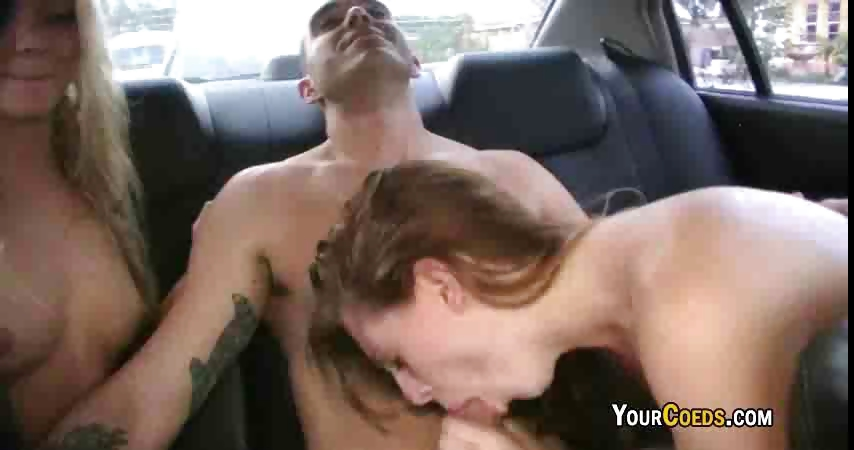 Sex Movie of Two Naughty Coeds Give Road Head
