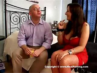 Fetish party with fearless fat woman in cute red underwear