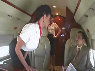 Porn Tube of Beautiful Stewardess Is Fucking With Two Businessmen On The Board Of A Plane